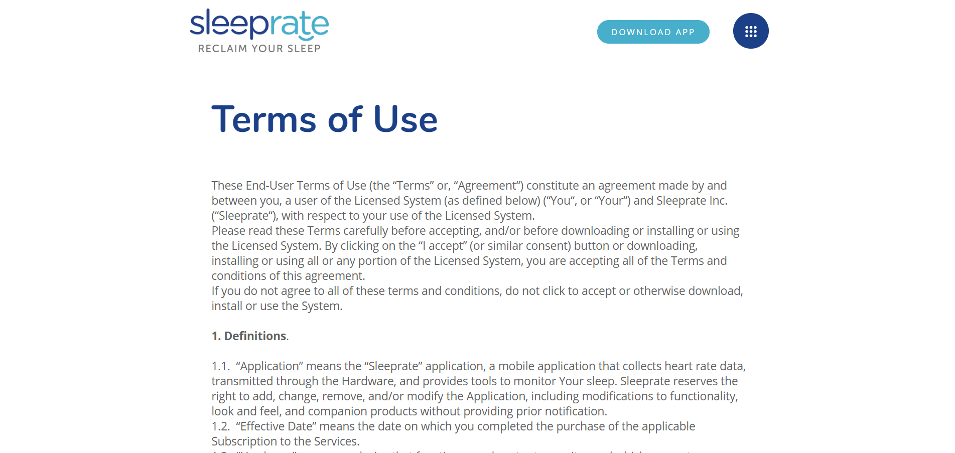 Terms Of Use >> Terms Of Use Sleeprate